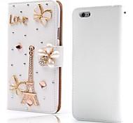 diamant tour de eiffle Flip Style portefeuille litchi étui en cuir PU avec support pour iPhone 6 plus