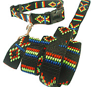 Nylon Solid Collar with Leashes for Pets Dogs