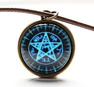 tempo matriz estrela constelação cabochão gem arte em vidro de cinco pontos estrela colar cartomante (1 peça)