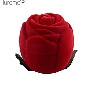 Lureme®Textile Made Rose Shaped Red Jewelry Box