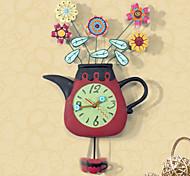 Floral Design Polyresin Wall Clock with Pendulum