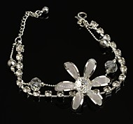 Fashion Hot Sell 30mm Flower-shaped Crystal with Rhinestone  Transparent Silver Plated Anklet