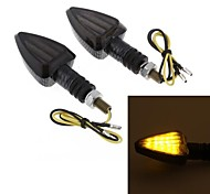 2Pcs Motorcycle Yellow 15 LED Turn Signal Light Bulb Blinker Smoke Lens DC12V 8mm
