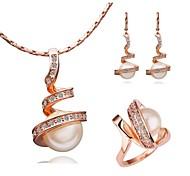 De ouro branco 18k chapeamento de ouro colar brincos anéis definido
