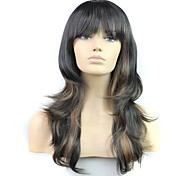 24 Zoll 100% Hochtemperatur-Faser synthetische weibliche elegante Mode Promi langen Wellenperücke