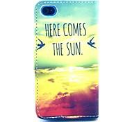 patrón de la salida del sol de la PU cuero caso de cuerpo completo con ranura de la tarjeta para el iphone 4 / 4s