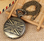 Unisex The Vintage Union Flag Pattern Flip Alloy Quartz Necklace Watch Green Patina (1Pc)
