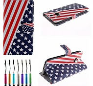 Stars And Stripes Pattern PU Leather Full Body Case with Touch Pen for HTC One M8