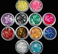 12Pcs Colors Shell Paper Sticker Nail Art Decoration