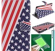 el diseño de la bandera americana de la PU cuero caso de cuerpo completo con protector de pantalla, lápiz y reposar por z2 sony sony