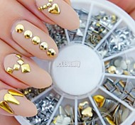 240pcs Nail Art or rivet mixte façonne strass acrylique