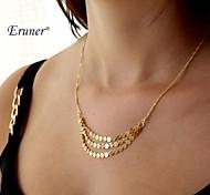 Eruner® Vintage Golden Tassel Three Chain Pendant Necklace