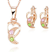 Z&X® European Style 18K Gold Plated Falcate Pendant Necklace Earrings Jewelry Set (1 set)