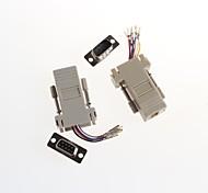 Computer Head DB9 (Male + Female) * RJ45 Communication Adapter Head 8P (2Pcs)