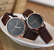 Couple's Round Dial PU Band Fashion Quartz Watch (Assorted Colors)