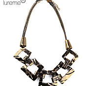 Lureme®Gold Plated Square Shaped Alloy Necklace
