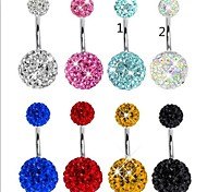 Stainless Steel CZ Crystal Ball Body Piercing Navel Belly Button Ring Girl Ear Stud CF049