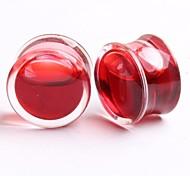 2014 neue Stil Acryl rote Flüssigkeit Ohrstöpsel Flesh Tunnel che Piercingschmuck eine Reihe von 2 12 mm