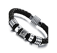 Leather Woven Titanium Steel Bracelet Christmas Gifts