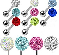 Stainless Steel Shamballa CZ Disco Ball Barbell Earring Tongue Ring Piercing Body Jewelry