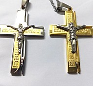 Texts Cross Stainless Steel Men's Gold Necklace