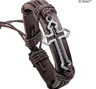 plata en forma de cruz de cuero pulsera chapado en aleación de eruner®men