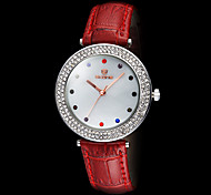 Women's Round Diamante Case Leather Band Quartz Fashion Watch (Assorted Colors)