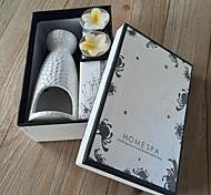 la decoración del hogar aromaterapia con una botella de cerámica y dos flores y un aceite esencial