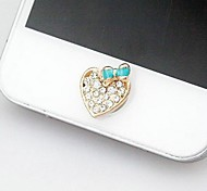 1Pcs Love Bowknot Rhinestone 1cm Buttons Stickers for iPhone and Others(Random Color)