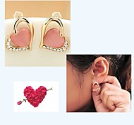 High Quality Diamond   Lovely Stone Heart Earrings  #12-1
