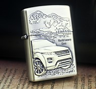 Earth Gold World Luxury Cars Pattern Metal Relief Oil Lighter  Style Random