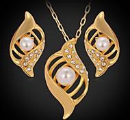Luxury 18K Gold Plated Pendant Necklace Stud Earrings Austrian Rhinestone Beads Fashion Jewelry Set
