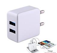 2.1a EU Plug sortie USB double adaptateur universel avec port USB blanc (100-240V / longueur: 95cm)