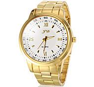Männer runde Zifferblatt Gold-Stahlband-Quarz-Armbanduhr (farbig sortiert)