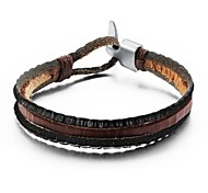 Fashion Multilayer Men Leather Bracelet