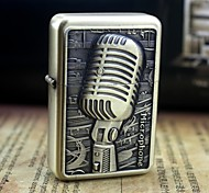 Personalized Engrave Microphone Pattern Gold Metal Oil Lighter