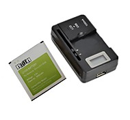 "IKKI™ Replacement 3850mAh Li-ion Battery with 0.8"" LCD Battery Charger for Samsung Galaxy S4 I9500 / I9505"