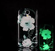 Modelo de flores que brillan en el caso duro oscuro para i9500 Samsung Galaxy S4