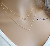 Eruner® Fashion Double Chain Crystal Pendant Necklace