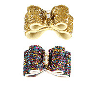 Lovely Bling Rhinestone Decorated Rubber Band Hair Bow for Pet Dogs(Random Colour)