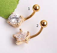 Stainless Steel Body Jewelry Gold Navel Belly Button Ring Girl Earring CF049
