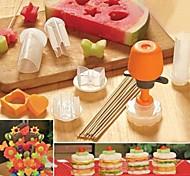novas ferramentas populares kithen DIY 6 em 1 flor / ferramentas de molde coração / círculo / estrela / sol / borboleta fruta bolo forma fabricante