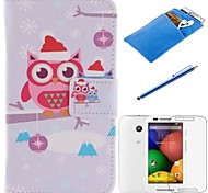 Cartoon The Owl Design PU Leather Full Body Case with Stylus、Protective Film and Soft Pouch for Motorola moto E