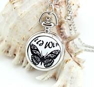padrão personalizado borboleta colhedores relógio de bolso de prata esmalte de metal