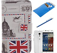 British Style Design PU Leather Full Body Case with Stylus、Protective Film and Soft Pouch for Motorola moto X