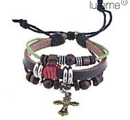 Lureme®Vintage Cross Charm Leather Bracelet