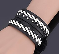 U7® Bracelet Platinum Plated High Quality Brand Genuine Leather Bracelet 3 sizes adjustable For Men \ Women Jewelry