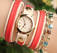 Women's Round Crystal Fashion Leather Japanese Quartz Watch (Assorted Colors)
