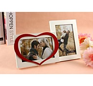 Personalized Framed Photo Double 6 Inches In One Heart Design White Wooden Frame with Stand 2 Photos