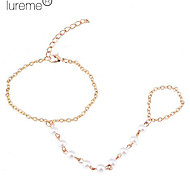Lureme®Gold Plated Pearls Chain Bracelet With Ring Loop